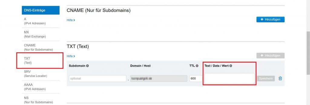 United-Domains.de: TXT Eintrag mit persönlicher ID von Sedo anlegen