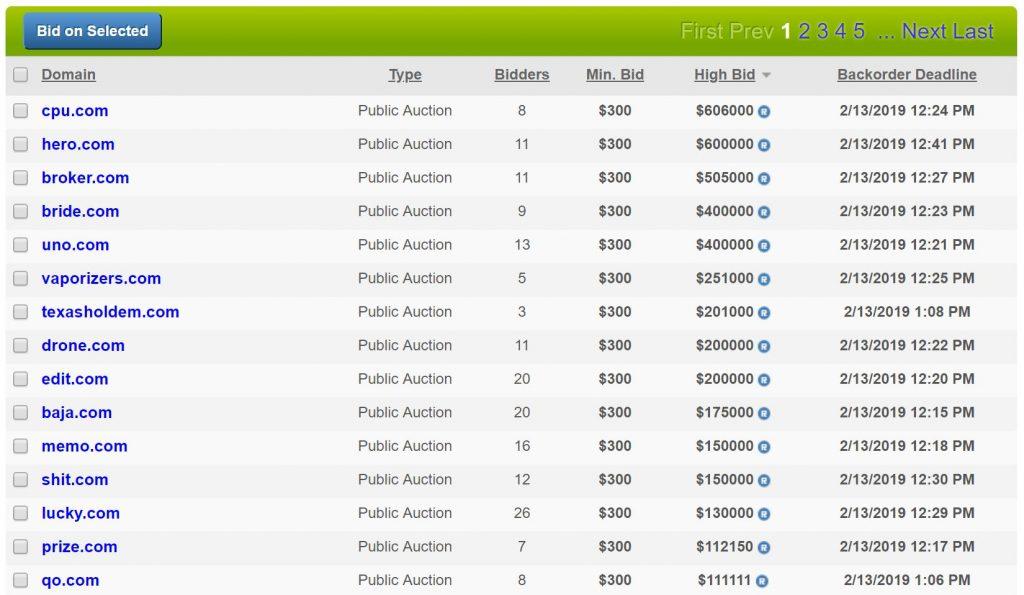 Screenshot NameJet Auktion, NamesCon